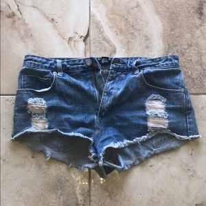 Blue Distressed Jean Shorts Ripped Forever 21